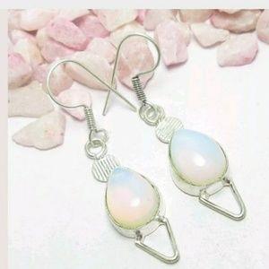MILKY OPALITE Silver dangling earrings